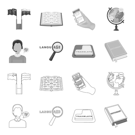 Interpreter and translator set collection icons.