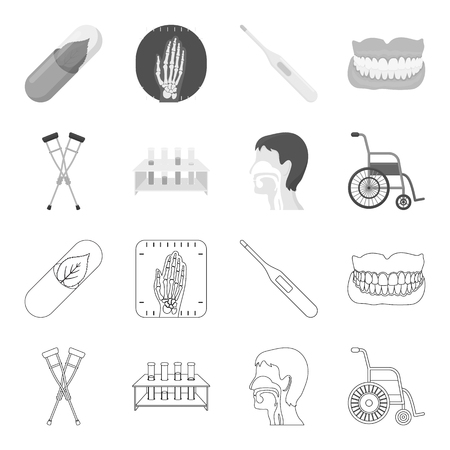Medical instruments and equipments set collection icons in outline monochrome style vector symbol stock illustration web. Stock Illustratie