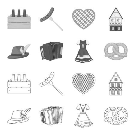 Beer festival set collection icons in outline monochrome style vector symbol stock illustration web.  イラスト・ベクター素材