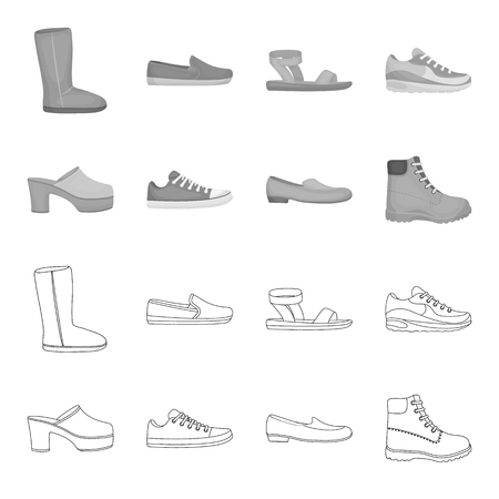 Shoes set collection icons in outline monochrome style vector symbol stock illustration web. Illustration