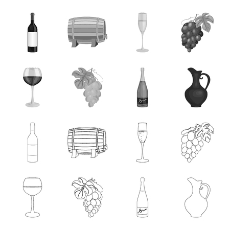 A glass of red wine, champagne, a jug of wine, a bunch. Wine production set collection icons in outline,monochrome style vector symbol stock illustration web. Stock Illustratie