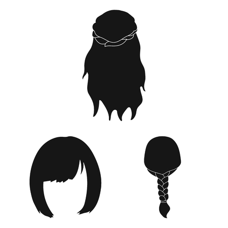 Female hairstyle black icons in set collection for design. Stylish haircut vector symbol stock  illustration. Иллюстрация