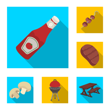 Barbecue and equipment flat icons in set collection for design. Picnic and fried food vector symbol stock web illustration. Illustration
