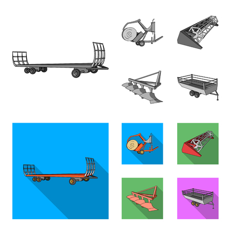 Plow, combine thresher, trailer and other agricultural devices. Agricultural machinery set collection icons in monochrome,flat style vector symbol stock illustration web.