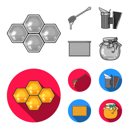 A frame with honeycombs, a ladle of honey, a fumigator from bees, a jar of honey.Apiary set collection icons in monochrome,flat style vector symbol stock illustration web.