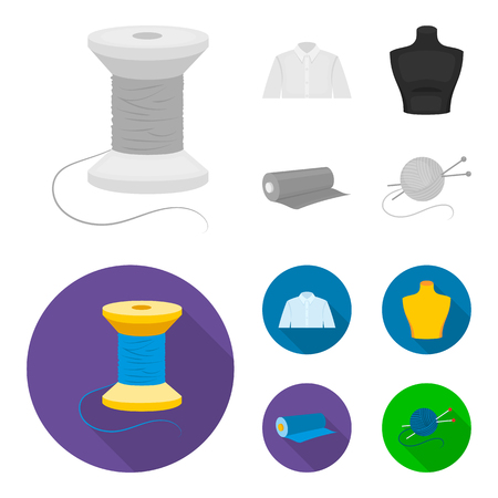 A man shirt, a mannequin, a roll of fabric, a ball of threads and knitting needles.Atelier set collection icons in monochrome,flat style vector symbol stock illustration web.