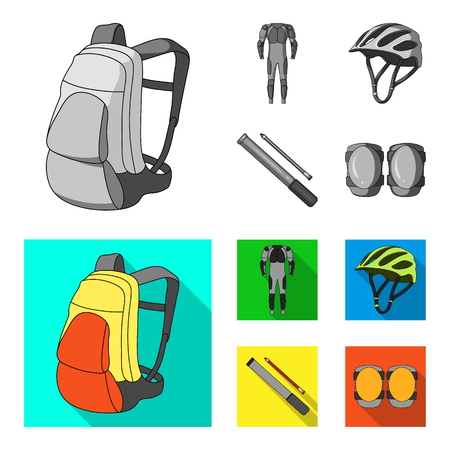 Cyclist outfit set collection icons in colored and monochrome, flat style vector symbol stock illustration web.