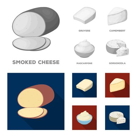 Gruyere, camembert, mascarpone, gorgonzola. Different types of cheese set collection icons in monochrome,flat style vector symbol stock illustration web.