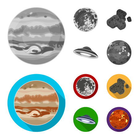 Moon, Venus of the planet of the solar system. Nil, a meteorite. Planets set collection icons in monochrome,flat style vector symbol stock illustration web.