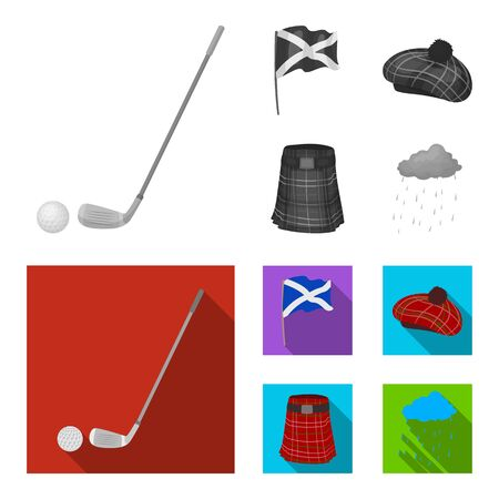 Flag, kilt, rainy weather, cap. Scotland country set collection icons in monochrome, flat style vector symbol stock illustration web.