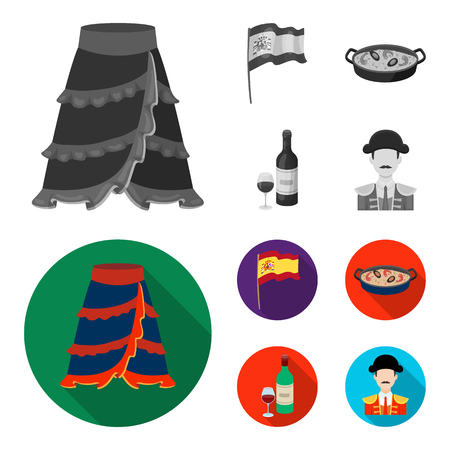 Spain country set collection icons in colored and monochrome, flat style vector symbol stock illustration .