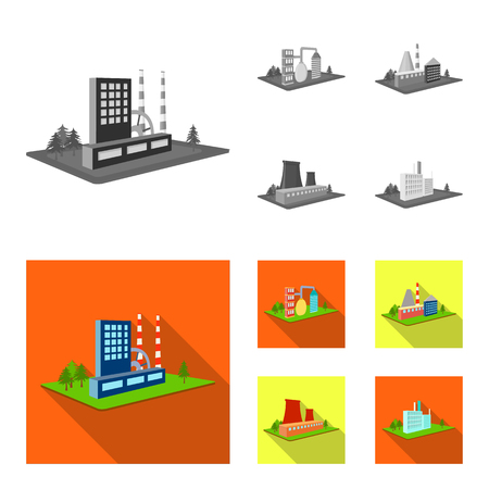 Processing factory, metallurgical plant. Factory and industry set collection icons in monochrome, flat style isometric vector symbol stock illustration web.
