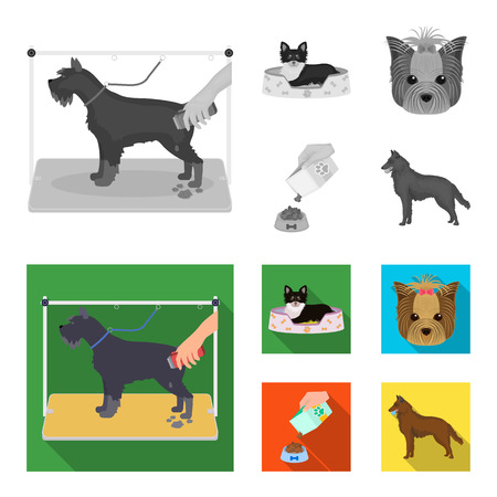 A dog in a lounger, a muzzle of a pet, a bowl with a feed, a sheepdog with a ball in his teeth. Pet,dog care set collection icons in colored and monochrome,flat style vector symbol stock illustration .
