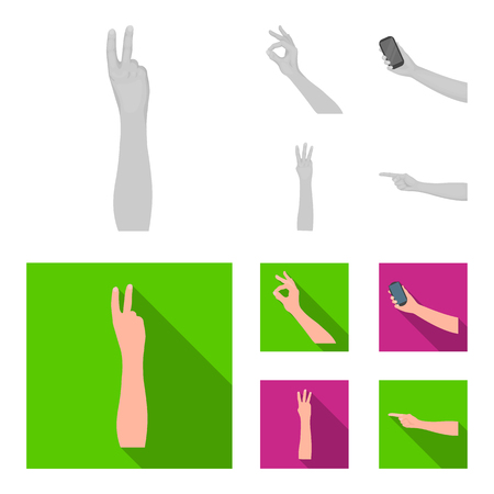 Sign Language monochrome, flat icons in set collection for design. Emotional part of communication vector symbol stock illustration. Vectores