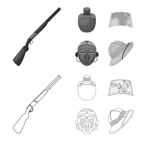 Hunting rifle, flask in the case, map, African mask. African safari set collection icons in outline,monochrome style vector symbol stock illustration web.