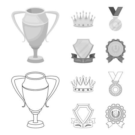 A silver cup, a gold crown with diamonds, a medal of the laureate, a gold sign with a red ribbon.Awards and trophies set collection icons in outline,monochrome style vector symbol stock illustration web. Illustration