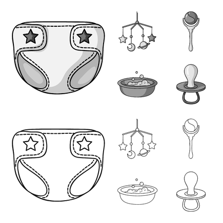 Children diapers, a toy over the crib, a rattle, a children bath. Baby born set collection icons in outline,monochrome style vector symbol stock illustration web.