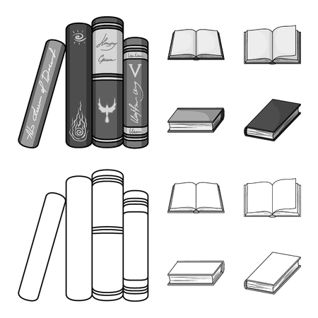 Various kinds of books. Books set collection icons in outline, monochrome style vector symbol stock illustration