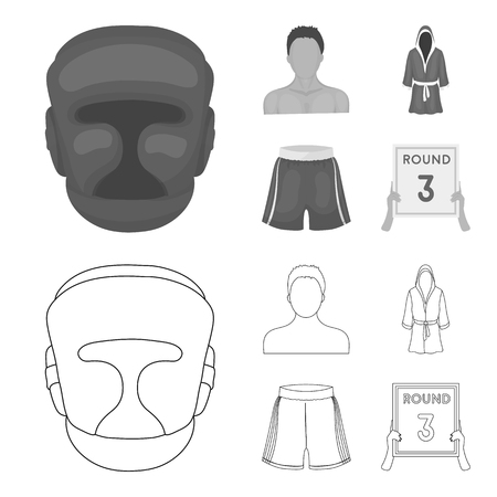 Boxing, sport, mask, helmet. Boxing set collection icons in outline, monochrome style vector symbol stock illustration Illustration