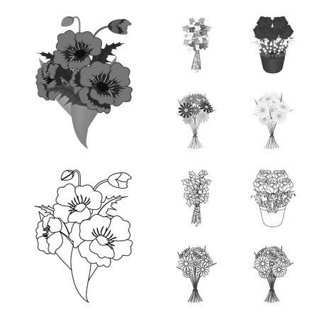 A bouquet of fresh flowers outline,monochrome icons in set collection for design. Various bouquets vector symbol stock illustration. Illustration