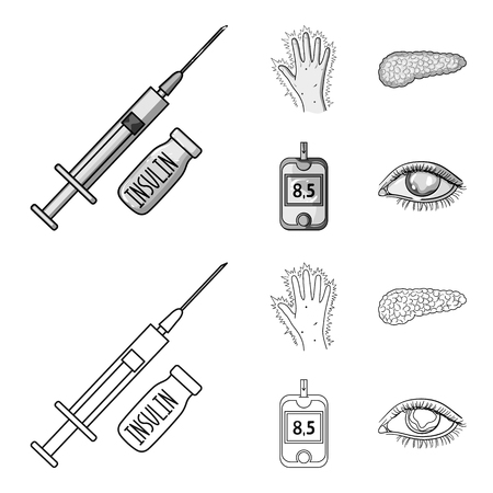 Syringe with insulin, pancreas, glucometer, hand diabetic. Diabetic set collection icons in outline, monochrome style vector symbol stock illustration