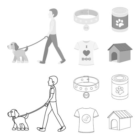 A man walks with a dog, a collar with a medal, food, a T-shirt I love dog. Dog set collection icons in outline, monochrome style vector symbol stock illustration