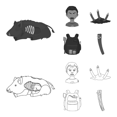 Zombies and Attributes outline, monochrome icons in set collection for design. Dead man vector symbol stock illustration.