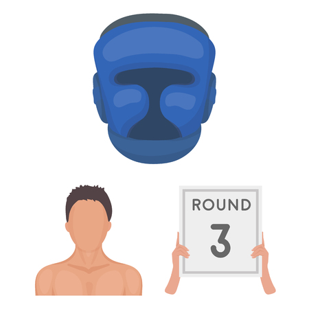 Boxing extreme sports cartoon icons in set collection for design. Boxer and attributes vector symbol stock web illustration.