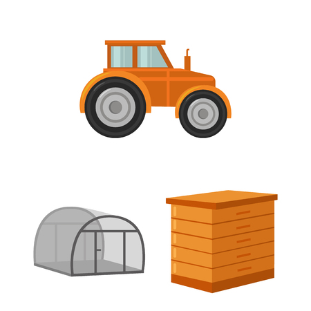 Farm and gardening cartoon icons in set collection for design. Farm and equipment vector symbol stock web illustration. Stock Illustratie