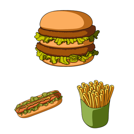 Fast food cartoon icons set collection illustration.