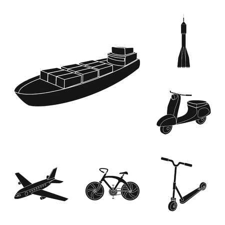 デザインのためのセットコレクション内のトランスポート黒いアイコンの異なるタイプ。車と船のベクトルシンボルストックウェブイラスト。