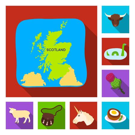 Country Scotland flat icons set illustration.