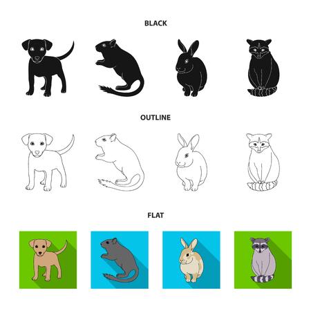 Chiot, rongeur, lapin et autres espèces animales.Animaux mis icônes de collection en noir, plat, contour style vecteur symbole stock illustration web.