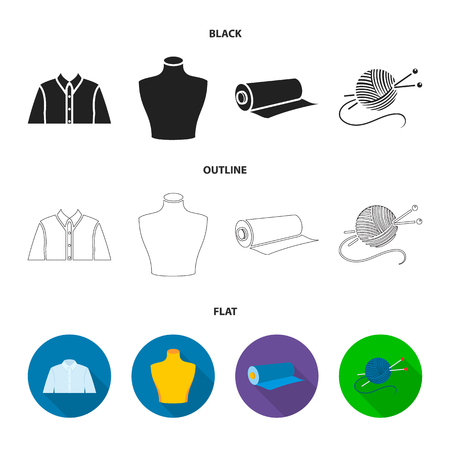 A man shirt, a mannequin, a roll of fabric, a ball of threads and knitting needles.Atelier set collection icons in black,flat,outline style vector symbol stock illustration web.