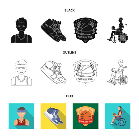 Basketball and attributes black,flat,outline icons in set collection for design.Basketball player and equipment vector symbol stock web illustration.