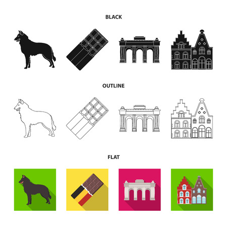 Chocolate, cathedral and other symbols of the country. Belgium set collection icons illustration.