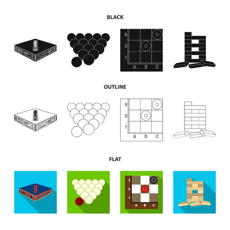 Board game black,flat,outline icons in set collection for design. Game and entertainment vector symbol stock web illustration. Çizim