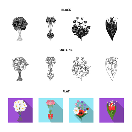 A bouquet of fresh flowers black,flat,outline icons in set collection for design. Various bouquets vector symbol stock web illustration.