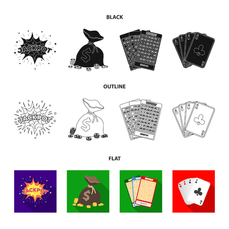 Jack sweat, a bag with money won, cards for playing Bingo, playing cards. Casino and gambling set collection icons in black,flat,outline style vector symbol stock illustration web.  イラスト・ベクター素材