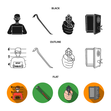Photo of criminal, scrap, open safe, directional gun. Crime set collection icons in black,flat,outline style vector symbol stock illustration web. Stock Illustratie