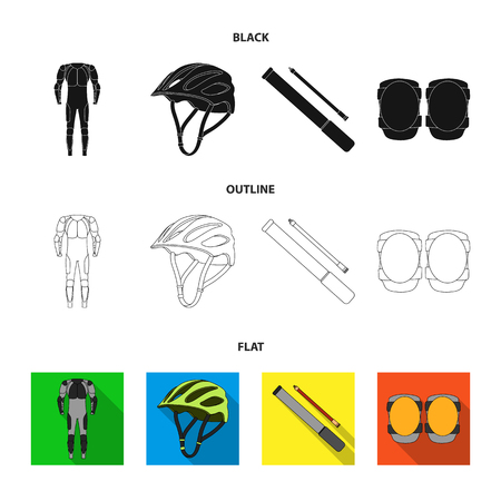 Full-body suit for the rider, helmet, pump with a hose, knee protectors.Cyclist outfit set collection icons in black,flat,outline style vector symbol stock illustration web. Illustration