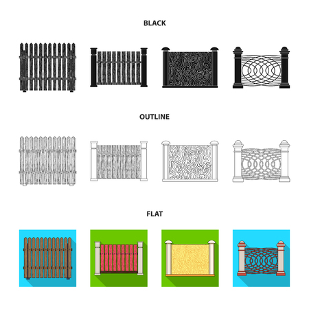 A fence of metal and bricks,wooden palisade. A different fence set collection icons in black, flat, outline style vector symbol stock illustration web.