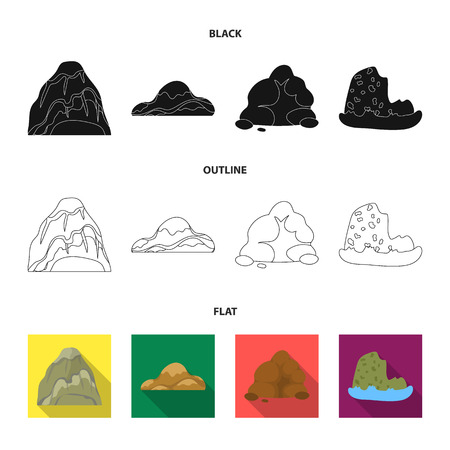 Boulders, a rounded mountain, rocks in the sea. Different mountains set collection icons in black, flat, outline style vector symbol stock illustration web.