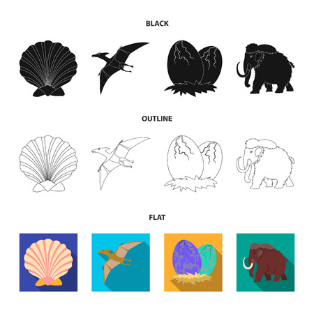 Prehistoric shell, dinosaur eggs, pterodactyl, mammoth. Dinosaur and prehistoric period set collection icons in black flat outline style vector symbol stock illustration