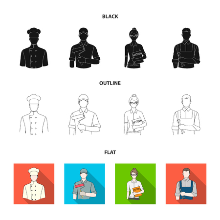 Cook, painter, teacher, locksmith mechanic.Profession set collection icons in black,flat,outline style vector symbol stock illustration web.