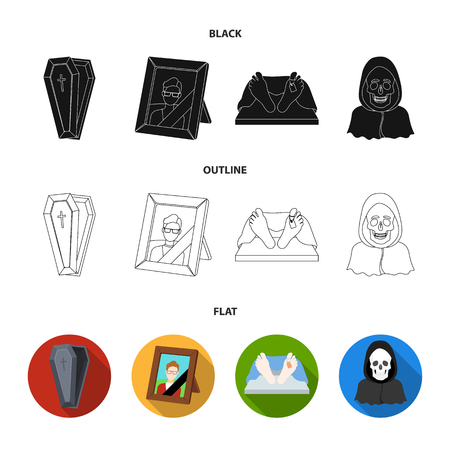 Coffin with a lid and a cross, a photograph of the deceased with a mourning ribbon, a corpse on the table with a tag in the morgue, death in a hood. Funeral ceremony set collection icons in black,flat,outline style vector symbol stock illustration web. Illustration