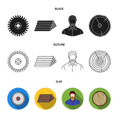 Circular saw, a working carpenter, a stack of logs. A sawmill and timber set collection icons in black flat outline style vector symbol stock illustration Ilustrace