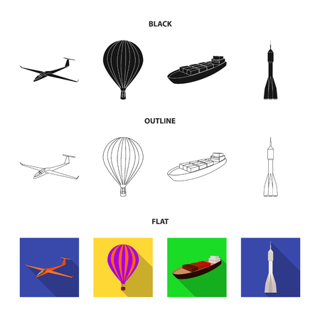 Un drone, un planeur, un ballon, une barge de transport, une fusée spatiale modes de transport. Icônes de collection de jeu de transport en noir, plat, contour style vecteur symbole stock illustration web. Banque d'images - 98639003
