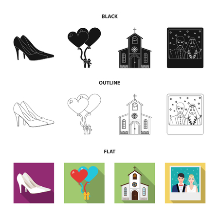 Wedding and Attributes cartoon  flat outline  black icons in set collection for design. Newlyweds and Accessories vector symbol stock illustration.