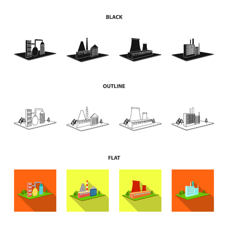 Processing factory,metallurgical plant. Factory and industry set collection icons in black,flat,outline style isometric vector symbol stock illustration web.